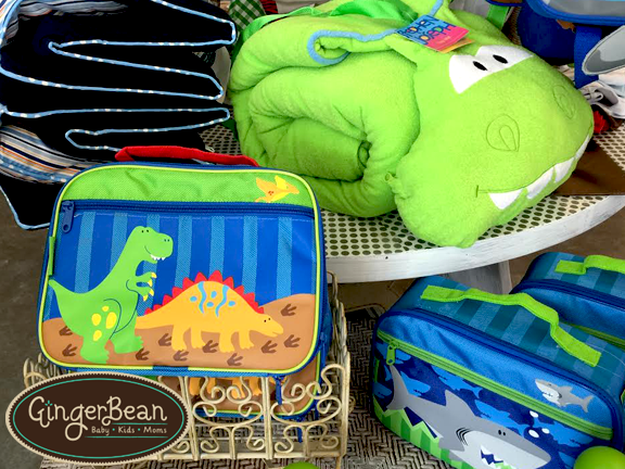 Stephen Joseph Dino and Shark collection school gear. Three Marthas boys nap mat.