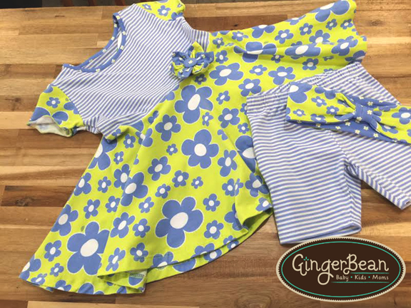 Three Friends Lime-and-Periwinkle-Twirl-Dress-and-Playground-Shorts